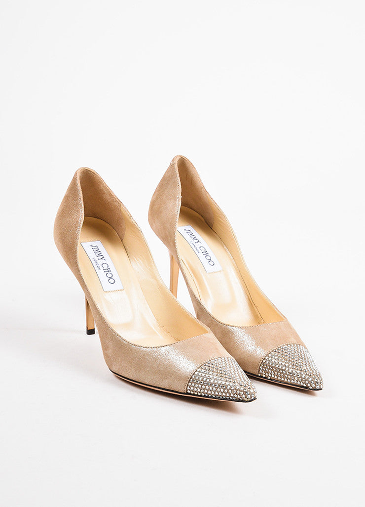 Nude Jimmy Choo Silver Metallic Suede Leather Crystal Cap Toe Pumps Front