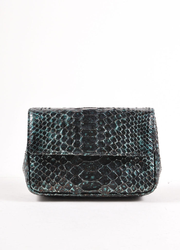 Judith Leiber Black and Teal Snakeskin Chain Strap Clutch Bag Frontview