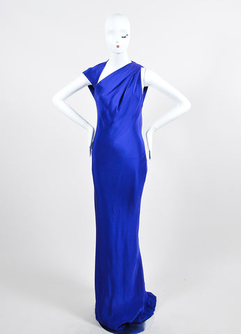 Blue Kaufmanfranco Silk Sleeveless Geometric Open Back Gown Frontview