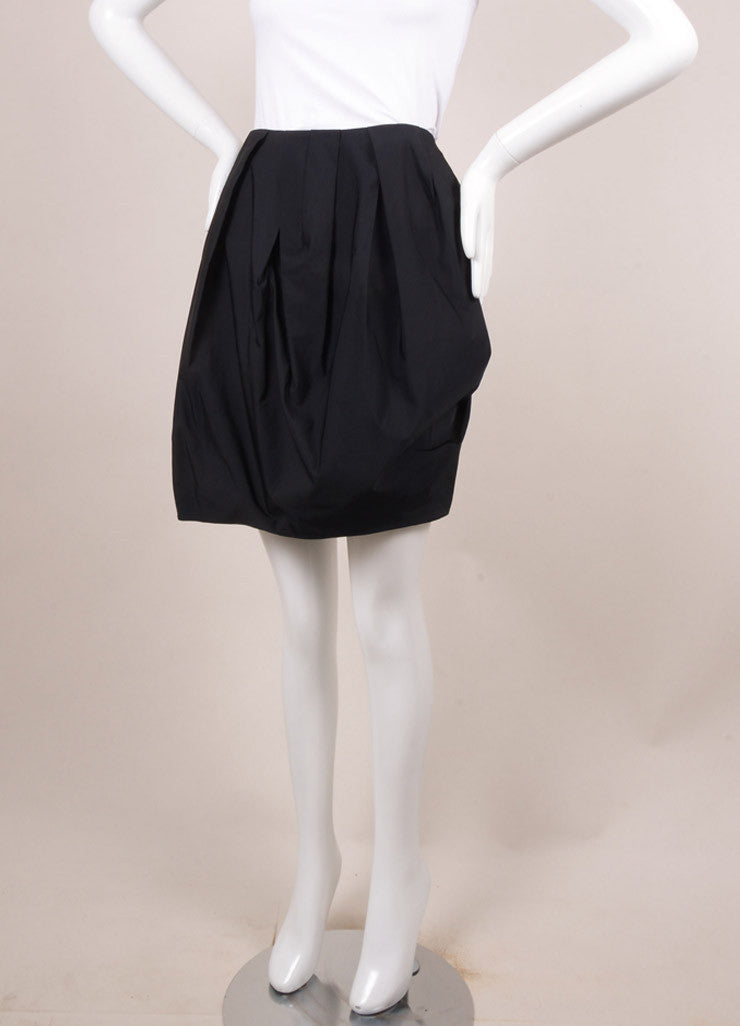 Lanvin Black Pleated Mini Skirt Sideview