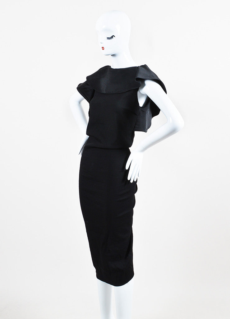 Lanvin Black Twill Silk Oversized Ruffle Ruched Sleeveless Cocktail Dress Sideview