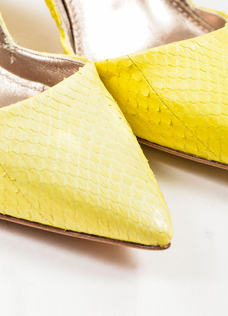 Lanvin Lemon Yellow Snakeskin Point Toe D'orsay Heels Pumps Detail