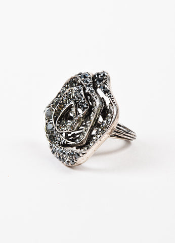 Lanvin Silver Toned Metal Rhinestone Embellished Rose Ring Sideview