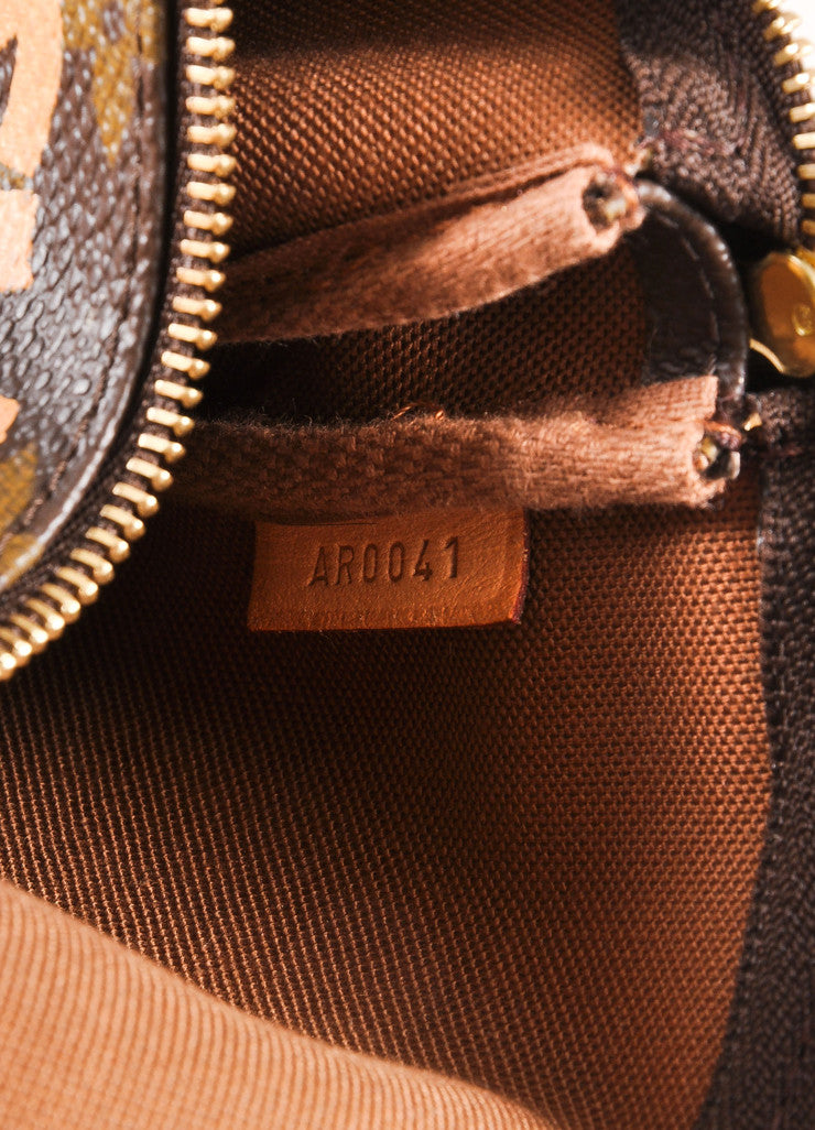 "Louis Vuitton x Stephen Sprouse Brown and Coral Monogram Canvas ""Graffiti"" Pochette Bag Serial"