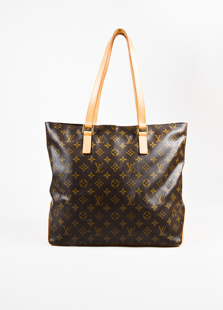 "Louis Vuitton Brown Tan Coated Canvas Monogram ""Cabas Mezzo"" Zip Tote Bag frontview"