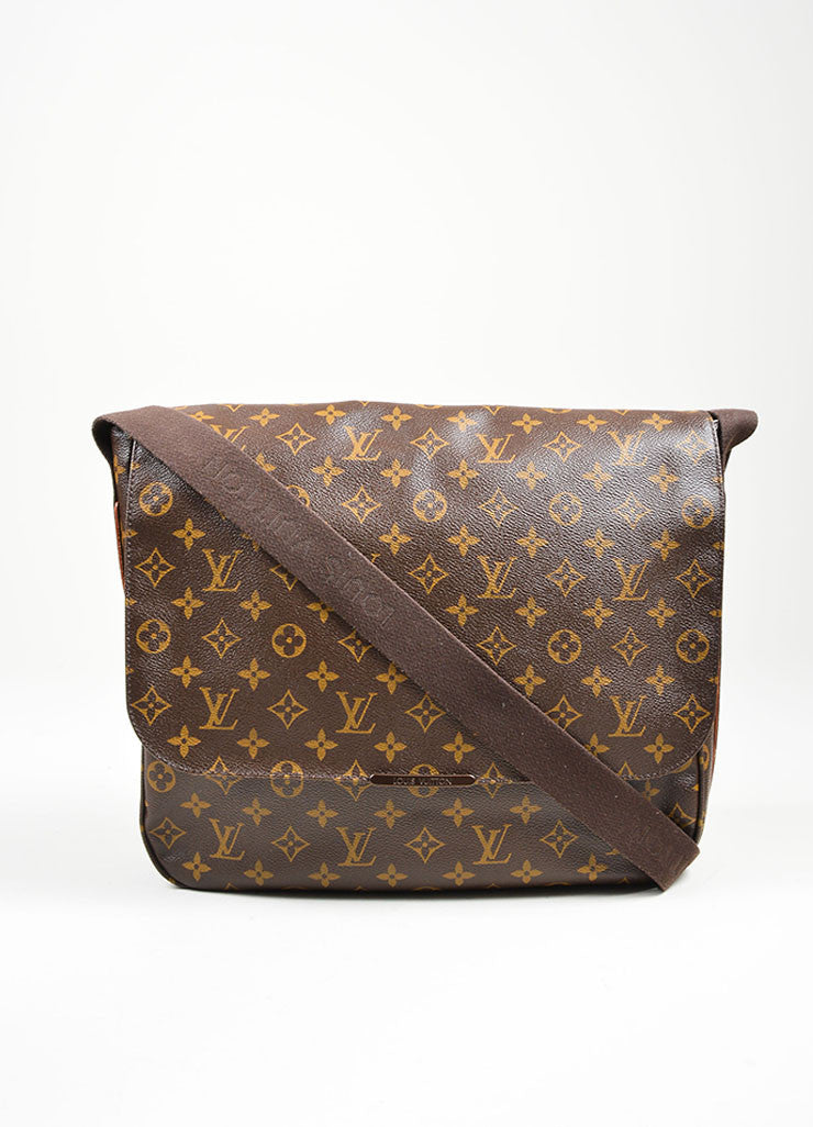 "Brown and Tan Louis Vuitton Monogram Coated Canvas ""Beaubourg GM"" Messenger Bag Frontview"