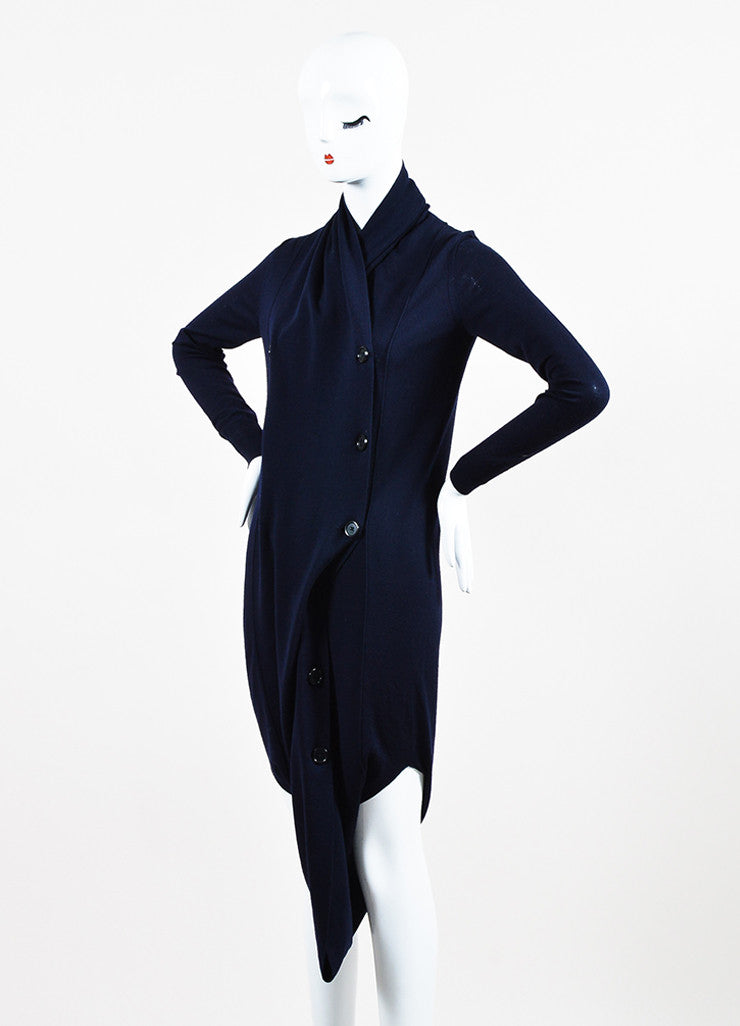 Maison Martin Margiela Navy Blue Wool Knit Double Breasted Cardigan Jumper Sideview