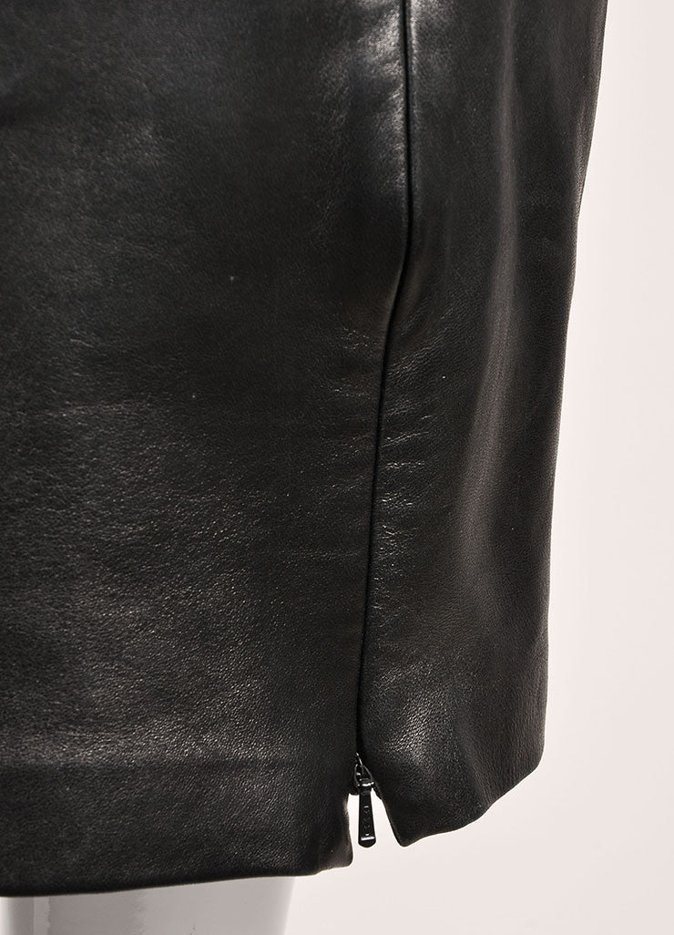 Michael Hoban Black Leather Zip Front Pencil Skirt Detail