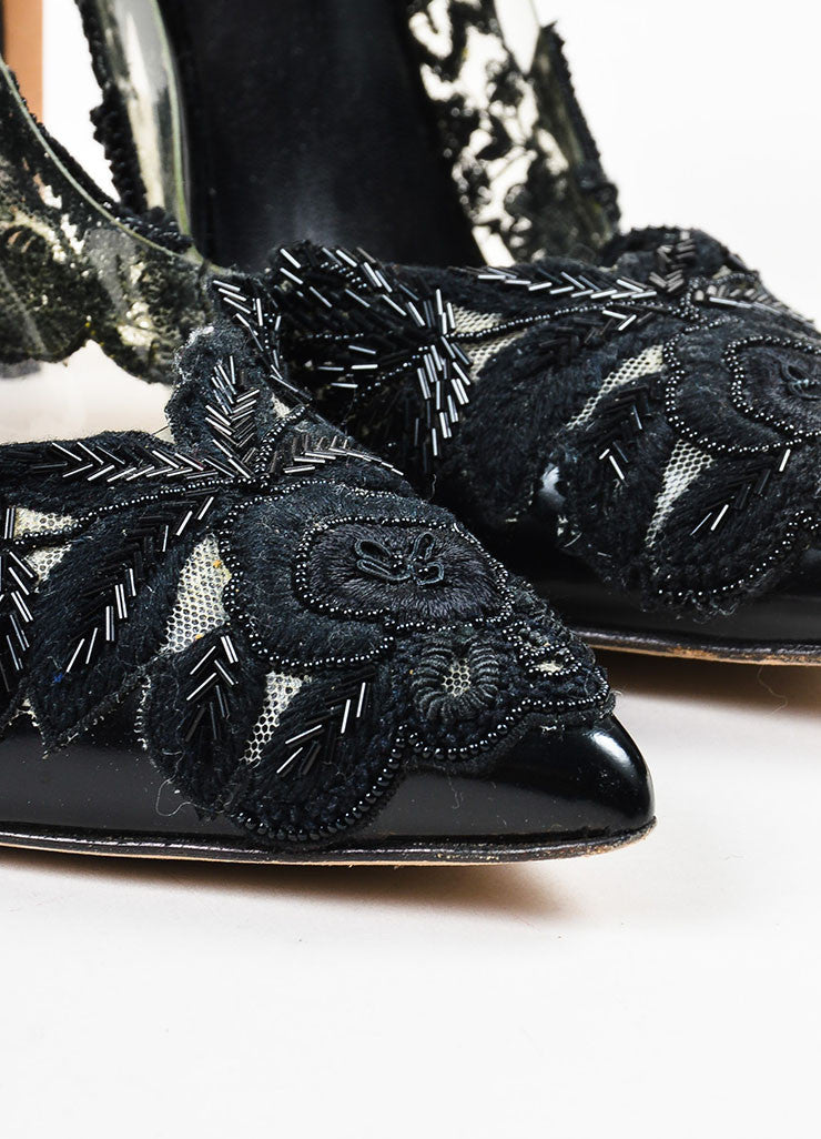 "Oscar de la Renta Black Leather Beaded PVC ""Alyssa"" Pointed Toe Pumps Detail"