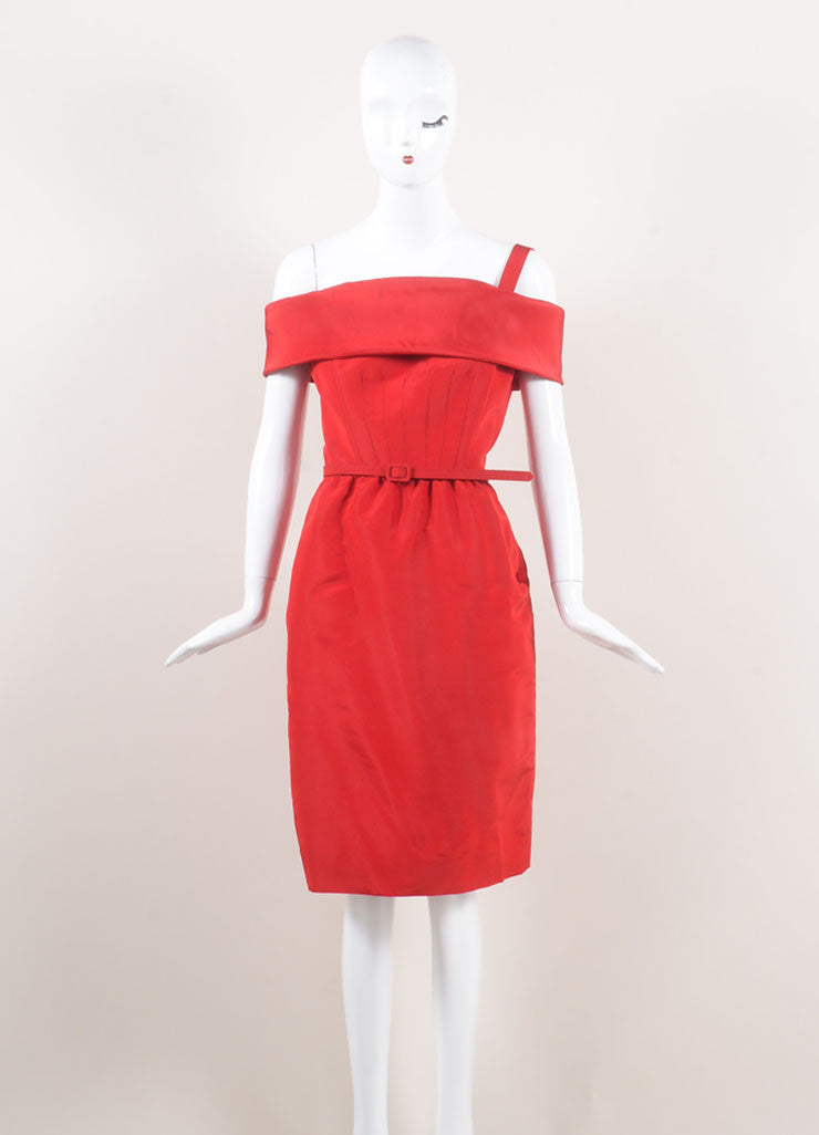 Oscar de la Renta New With Tags Red Off Shoulder Silk Faille Sheath Dress Frontview