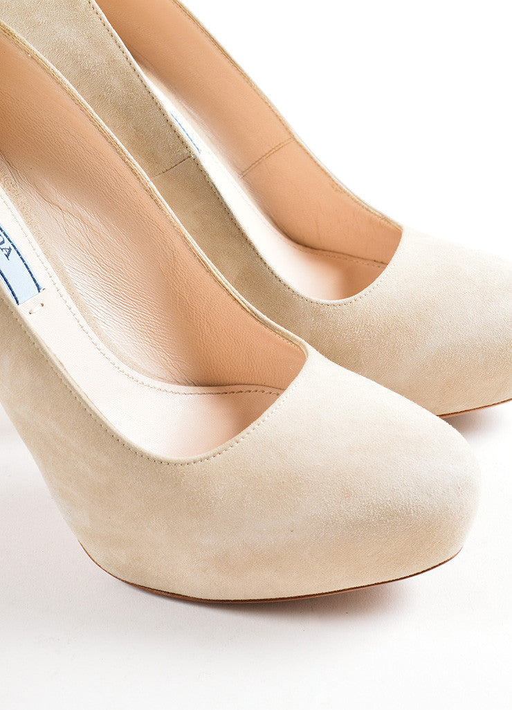 Prada Beige Suede Leather Hidden Platform Almond Toe Pumps Detail