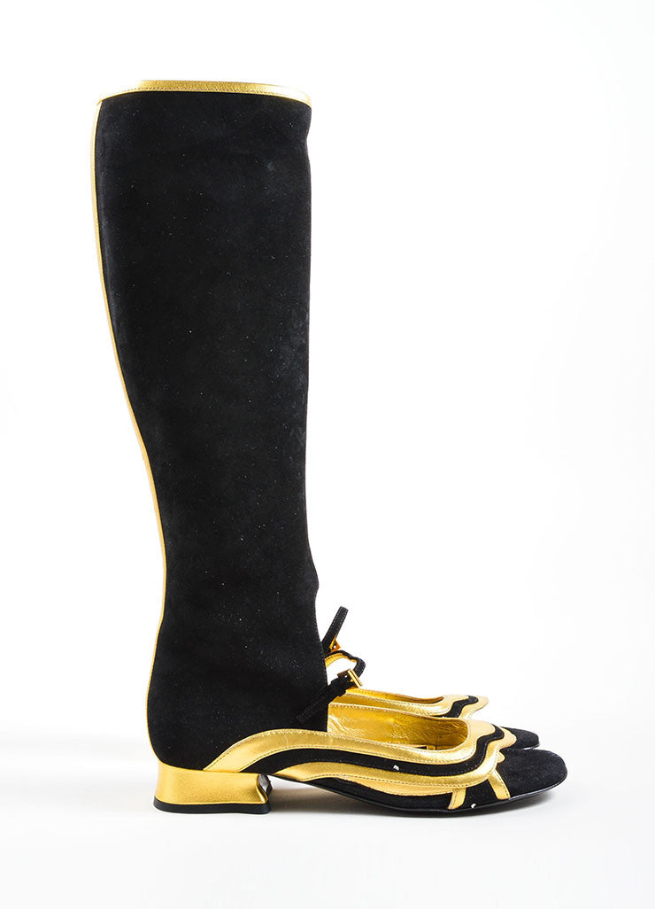 Prada Black and Gold Suede Cut Out Open Toe Boots Sideview