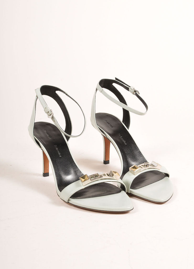 Proenza Schouler New In Box 70mm Low Mint Green Ankle Strap Sandals Frontview