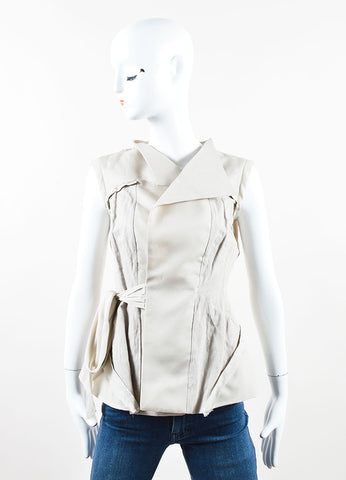 "Rick Owens Beige ""Pearl"" Silk and Cotton Wrap Tie Paneled Vest Frontview"