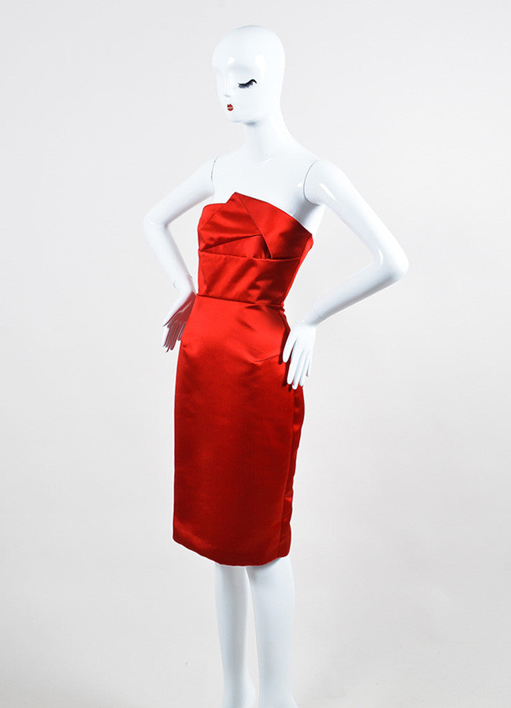 "Red Satin Roland Mouret ""Esther"" Cocktail Dress Side"