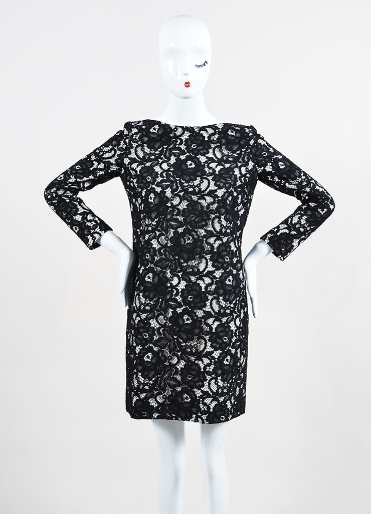 Saint Laurent Black and White Lace Three Quarter Sleeve Shift Dress Frontview