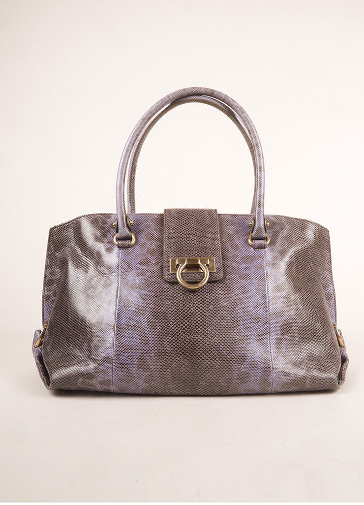 Salvatore Ferragamo Purple and Brown Lizard Leather Top Handle Shoulder Bag Frontview