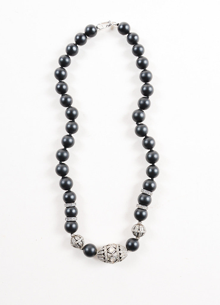 Black Onyx and Pave Diamond Beaded Necklace Frontview