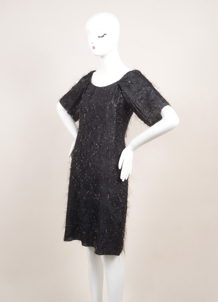 "Sonia Rykiel New With Tags Black Silk Metallic Thread ""Voile"" Dress Sideview"
