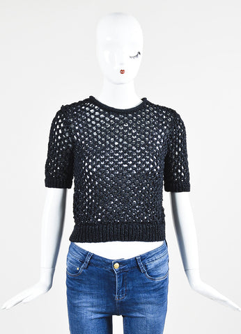 Midnight Blue T by Alexander Wang Nylon Woven Crochet Short Sleeve Cropped Top Frontview