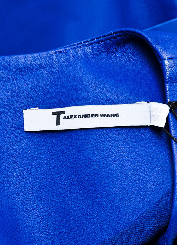 T Alexander Wang Blue Black Leather Textured Tyvek Tunic Top  Brand