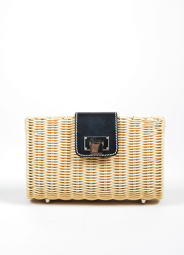 "Beige Woven Wicker and Black Leather Tiffany & Co. ""Blaine"" Convertible Clutch Bag Frontview"