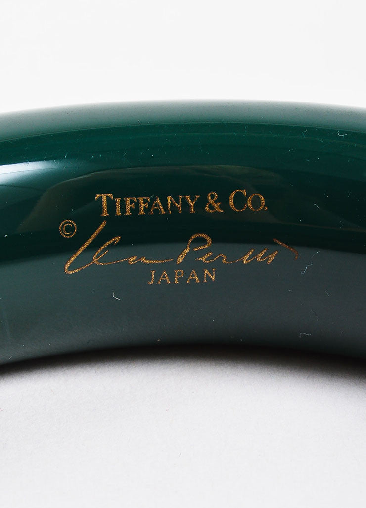 "Tiffany & Co. Elsa Peretti Green Lacquered Japanese Hardwood ""Doughnut"" Bangle Brand"