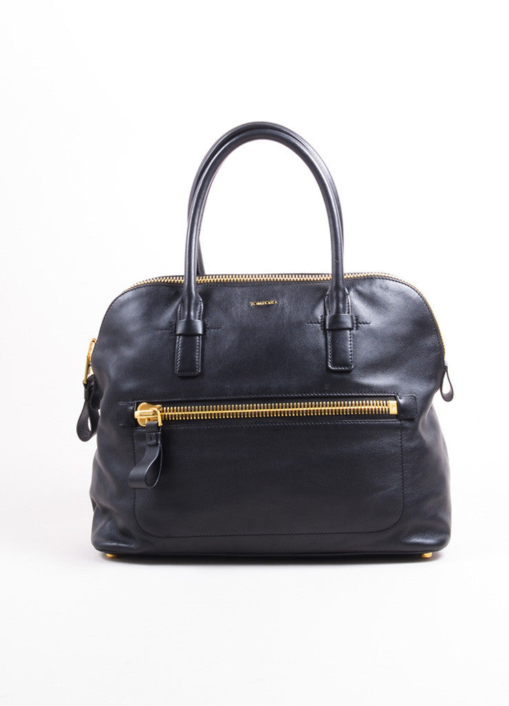 Tom Ford Black Leather and Gold Toned Hardware Bowler Bag Frontview