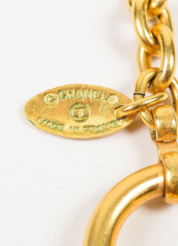 Gold Toned Chanel Hammer Ring Pendant Long Chain Necklace Brand