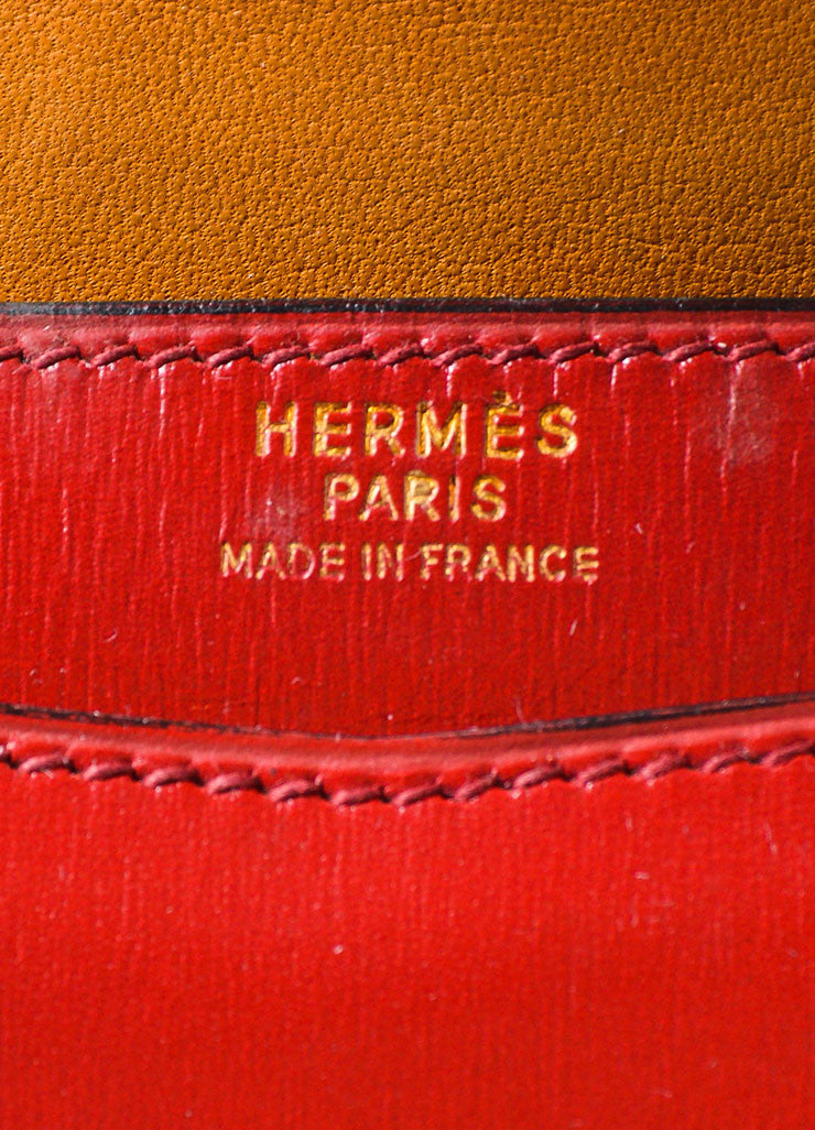 "Red, Maroon, and Tan Hermes Leather Color Block ""Baccara"" Envelope Clutch Brand"