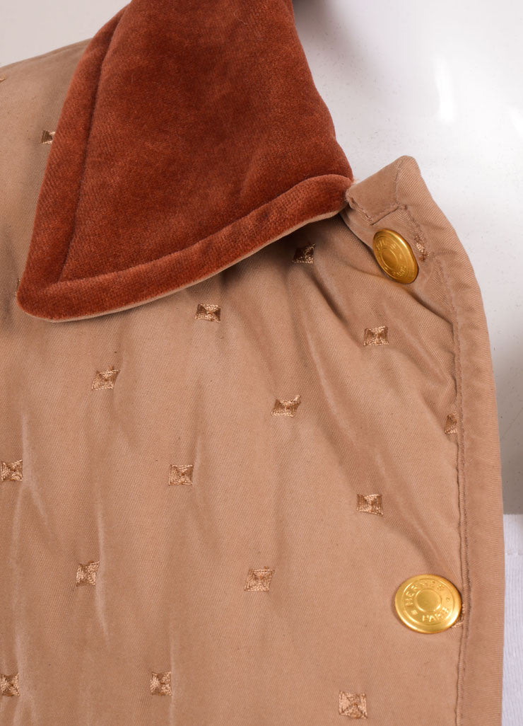 Hermes Taupe and Rust Cotton and Wool Quilted Button Up Jacket Detail
