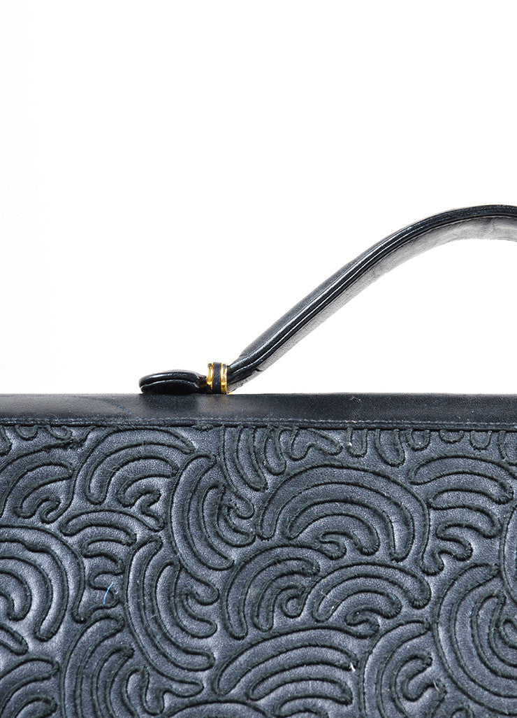 Judith Leiber Black Embroidered Leather Top Handle Flap Briefcase Detail 2