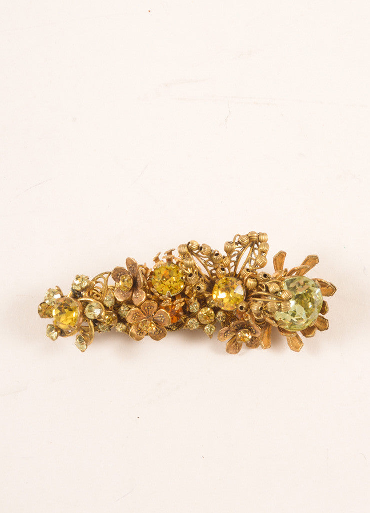 Miriam Haskell Gold Toned, Green, and Yellow Rhinestone and Floral Filigree Pin Frontview