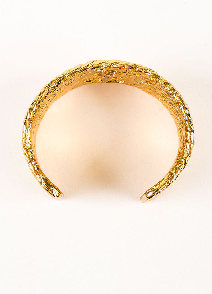 Yves Saint Laurent Gold Toned Rope Textured Wide Cuff Bracelet Topview
