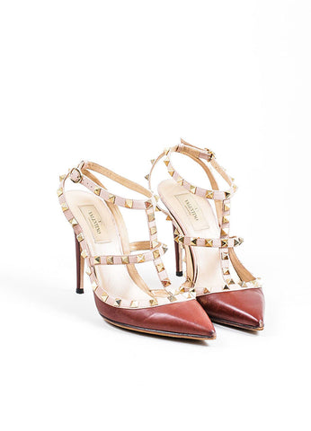 Valentino Maroon Leather Cage Rockstud Slingbacks Frontview