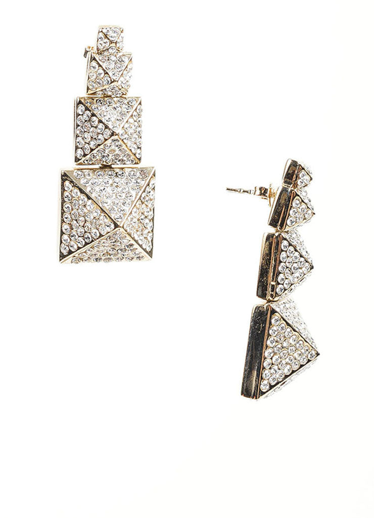 Gold Toned Pave Rhinestone Valentino Tiered Pyramid Drop Earrings Sideview
