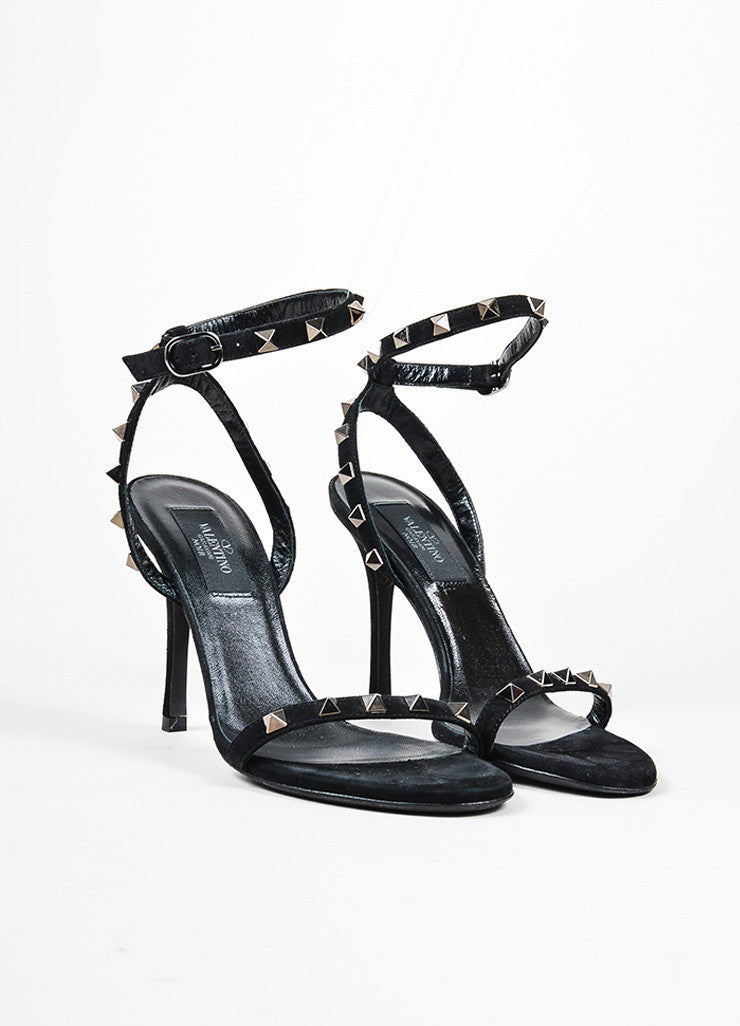 "Black and Gunmetal Valentino Suede Ankle Strap ""Rockstud Noir"" Sandals Frontview"