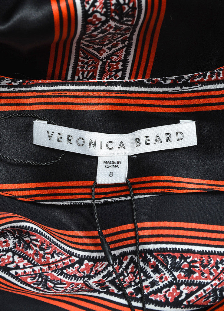 "Veronica Beard Black, Red, and White Silk Patterned Stripe ""Ivy"" Dress Brand"