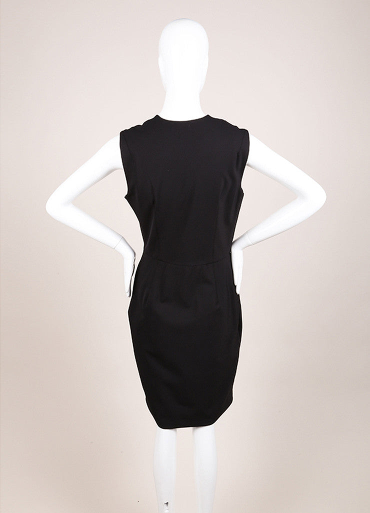 Veronica Beard New With Tags Black Nylon Scuba Zip Front Sleeveless Dress Backview