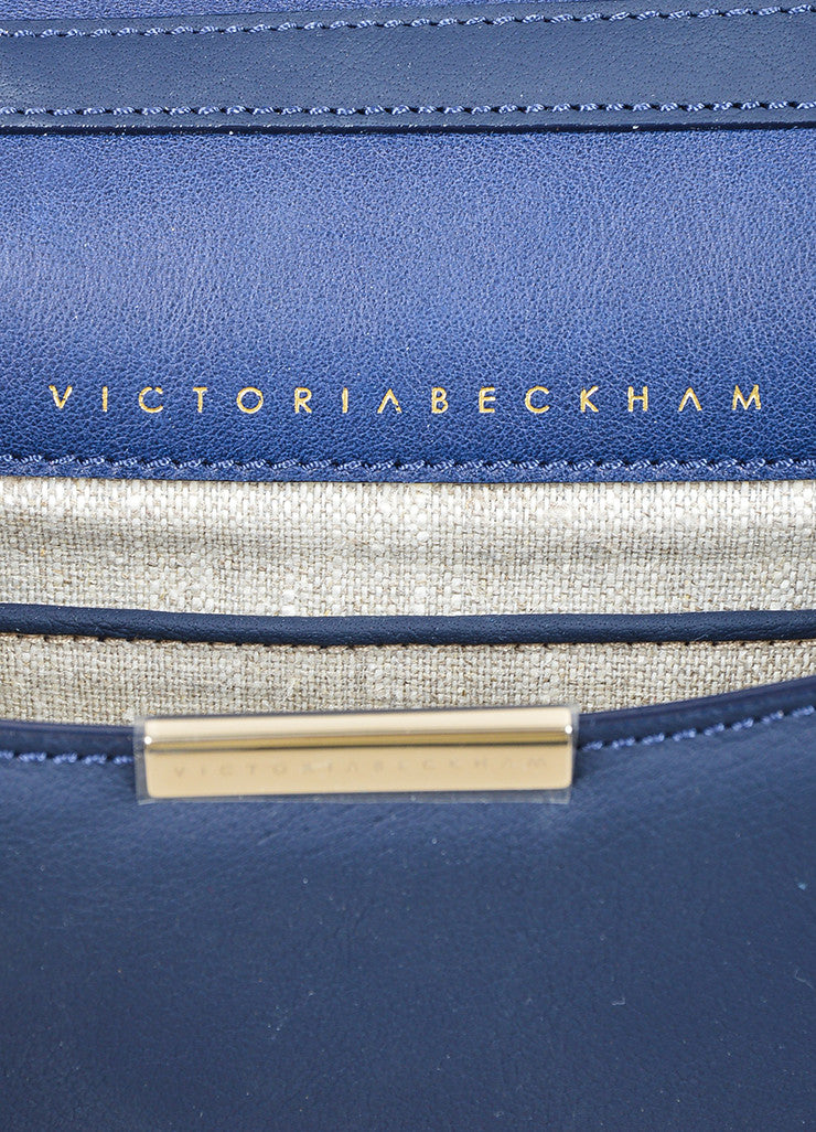 Navy Blue Victoria Beckham Leather Mini Chain Strap Satchel Bag Brand