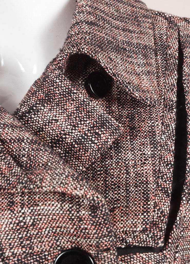 Chanel Pink And Black Woven Knit Tweed Cropped Long Sleeve Jacket Detail