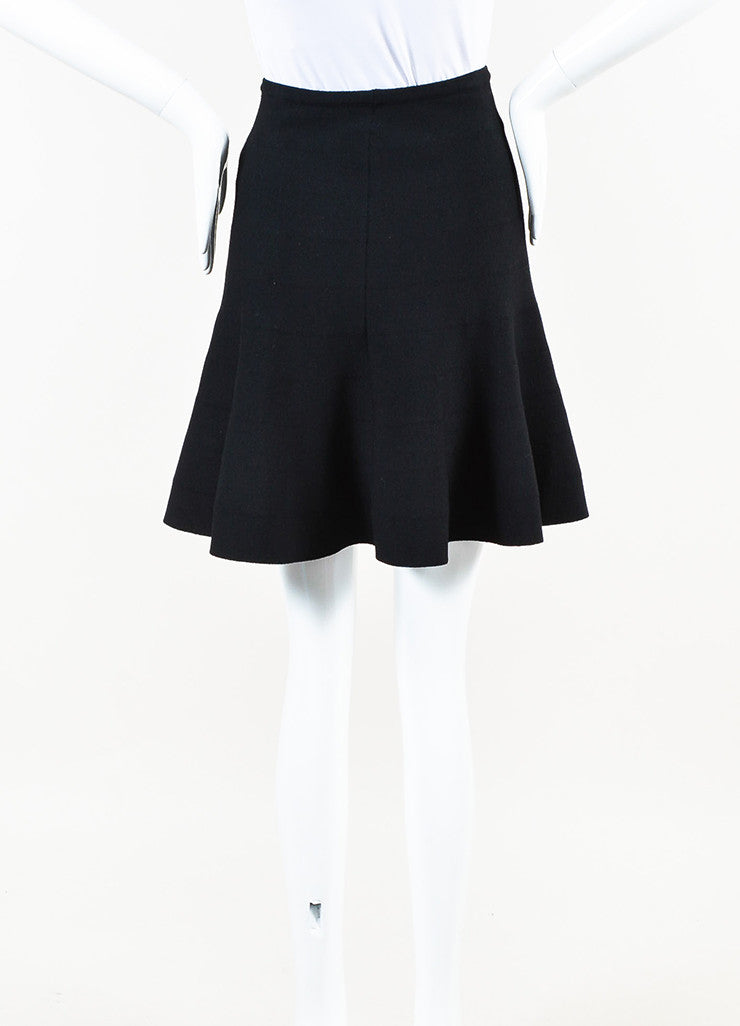 Alaia Black Wool Knit Flare Skirt Backview