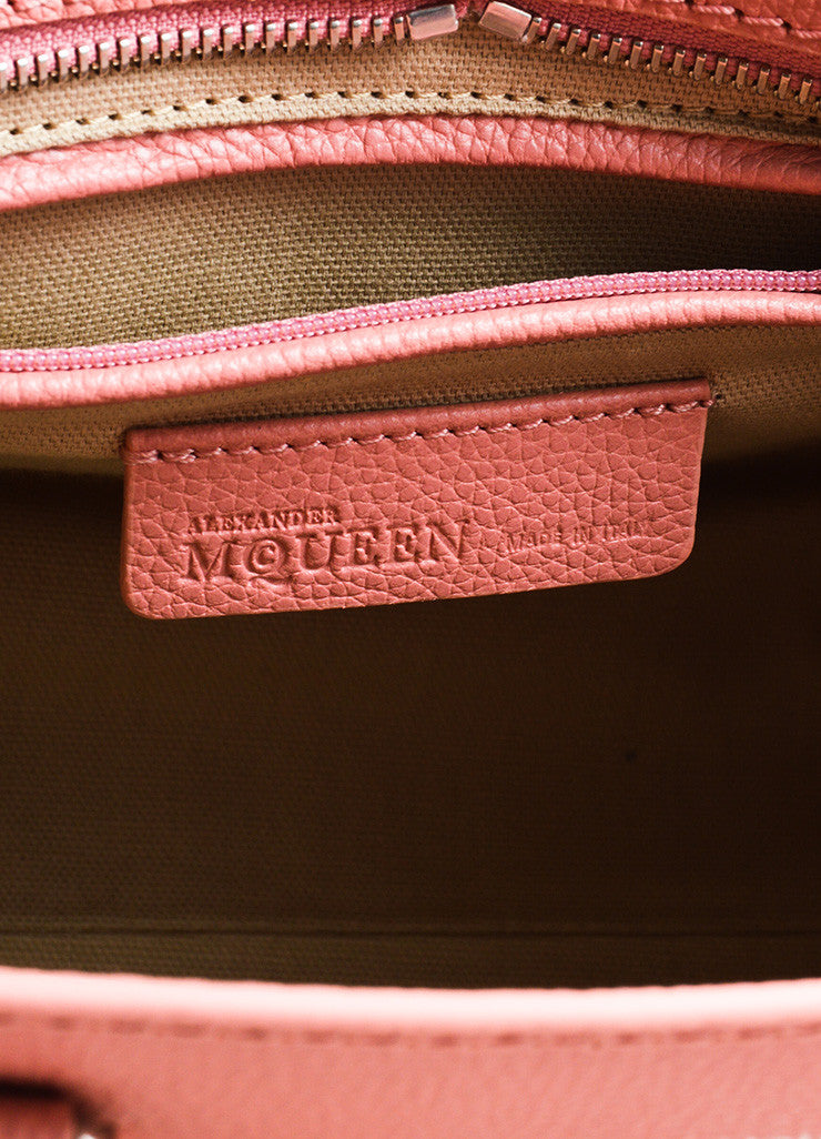 Pink Alexander McQueen Grained Leather Small Padlock Satchel Bag Brand