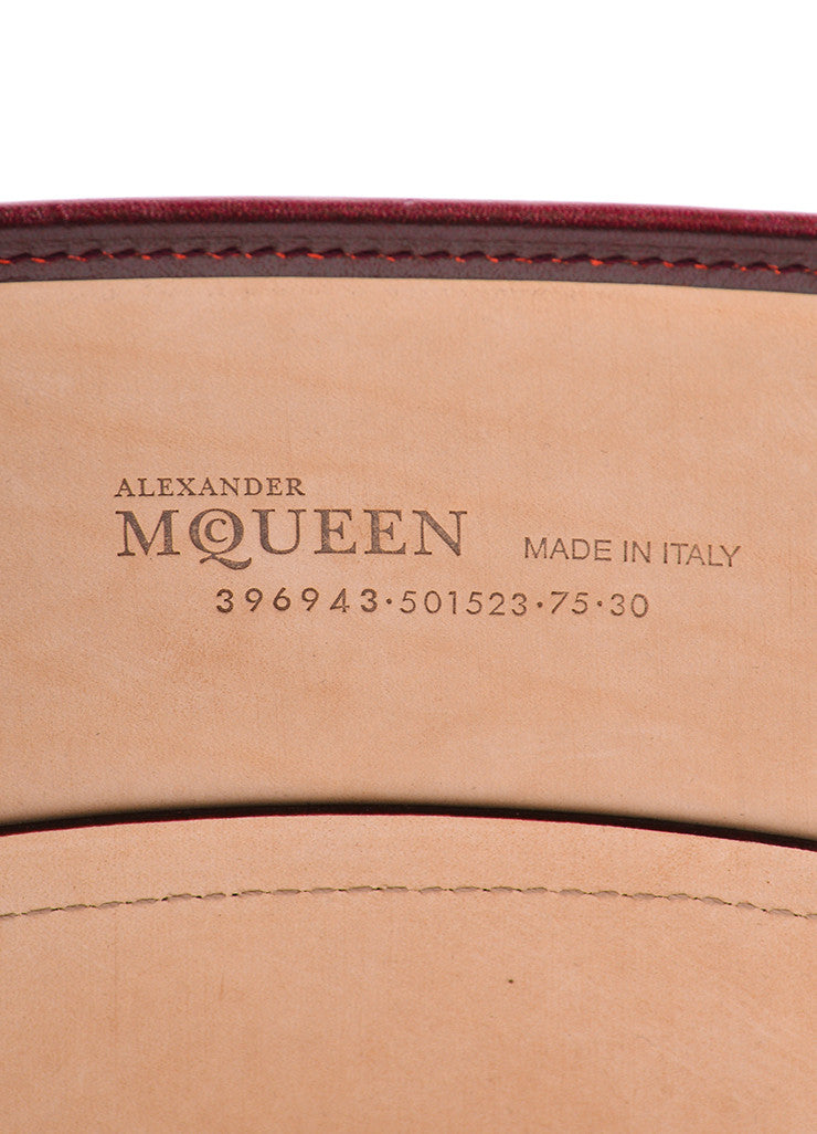 Alexander McQueen Oxblood Red Leather Wide Bridle Corset Belt Brand