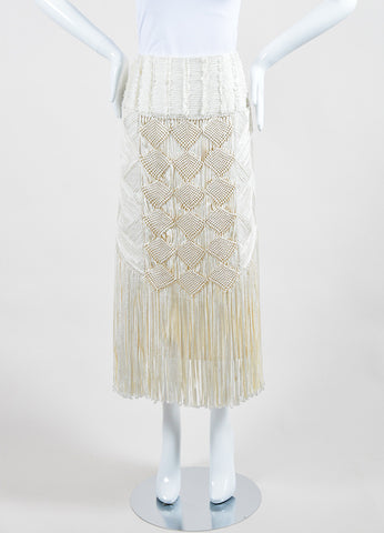 Andrew Gn Cream Wool Crepe Macrame Front Fringe Pencil Skirt Frontview