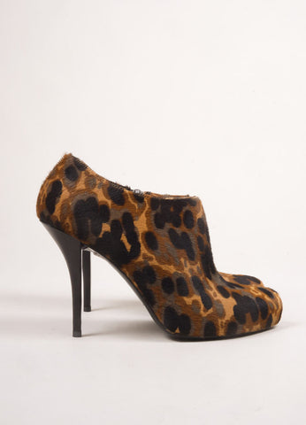 Balenciaga Brown, Black, and Grey Pony Hair Leopard Print Ankle Booties Sideview