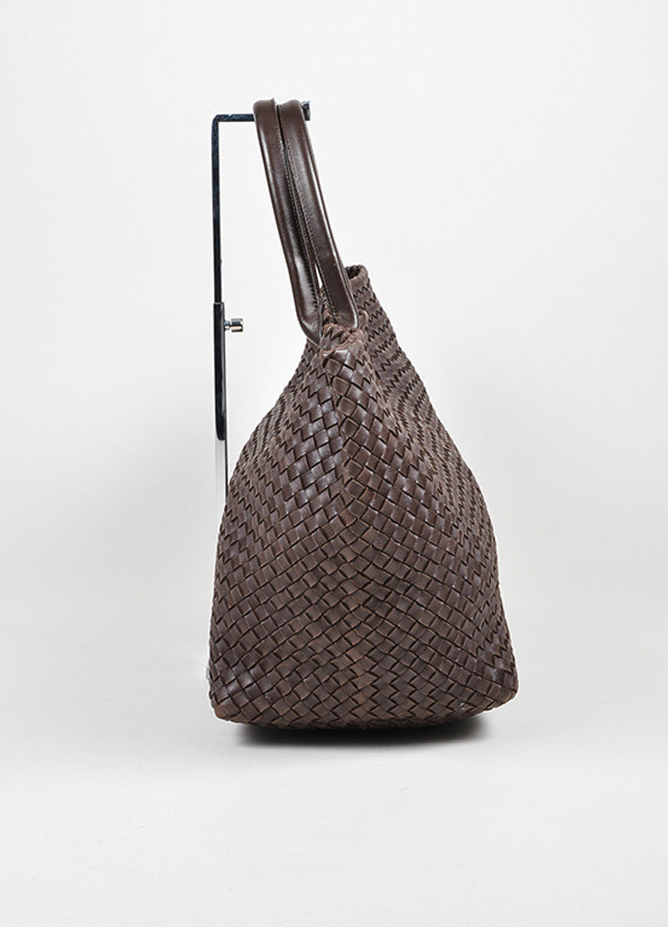 "Brown Leather Bottega Veneta ""Intrecciato Cabat"" Woven Medium Tote Bag Sideview"