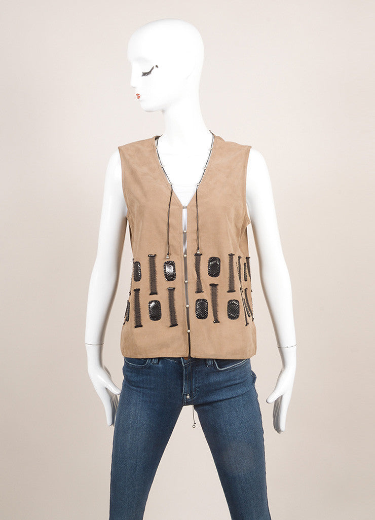 Bottega Veneta New With Tags Grey, Brown, And Black Silk Trim Beaded Leather Vest Frontview