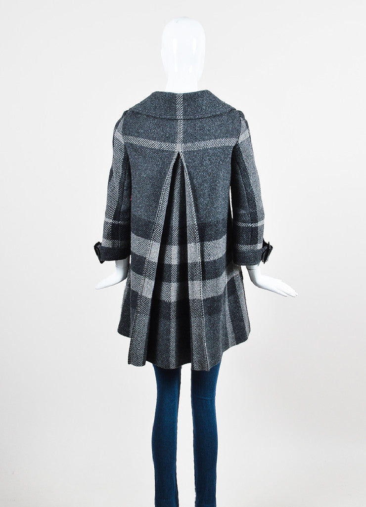 Heather Grey Burberry Wool Plaid Check Button Down Swing Coat Backview