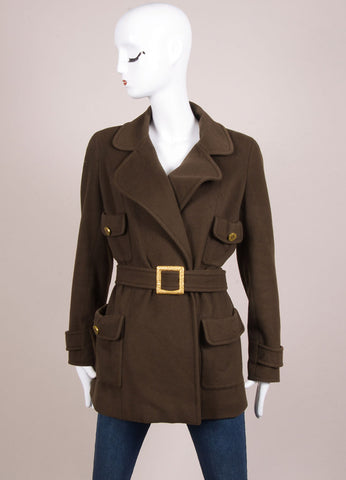 "Chanel Army Green Fleece Gold Toned ""CC"" Button Belted Jacket Frontview"